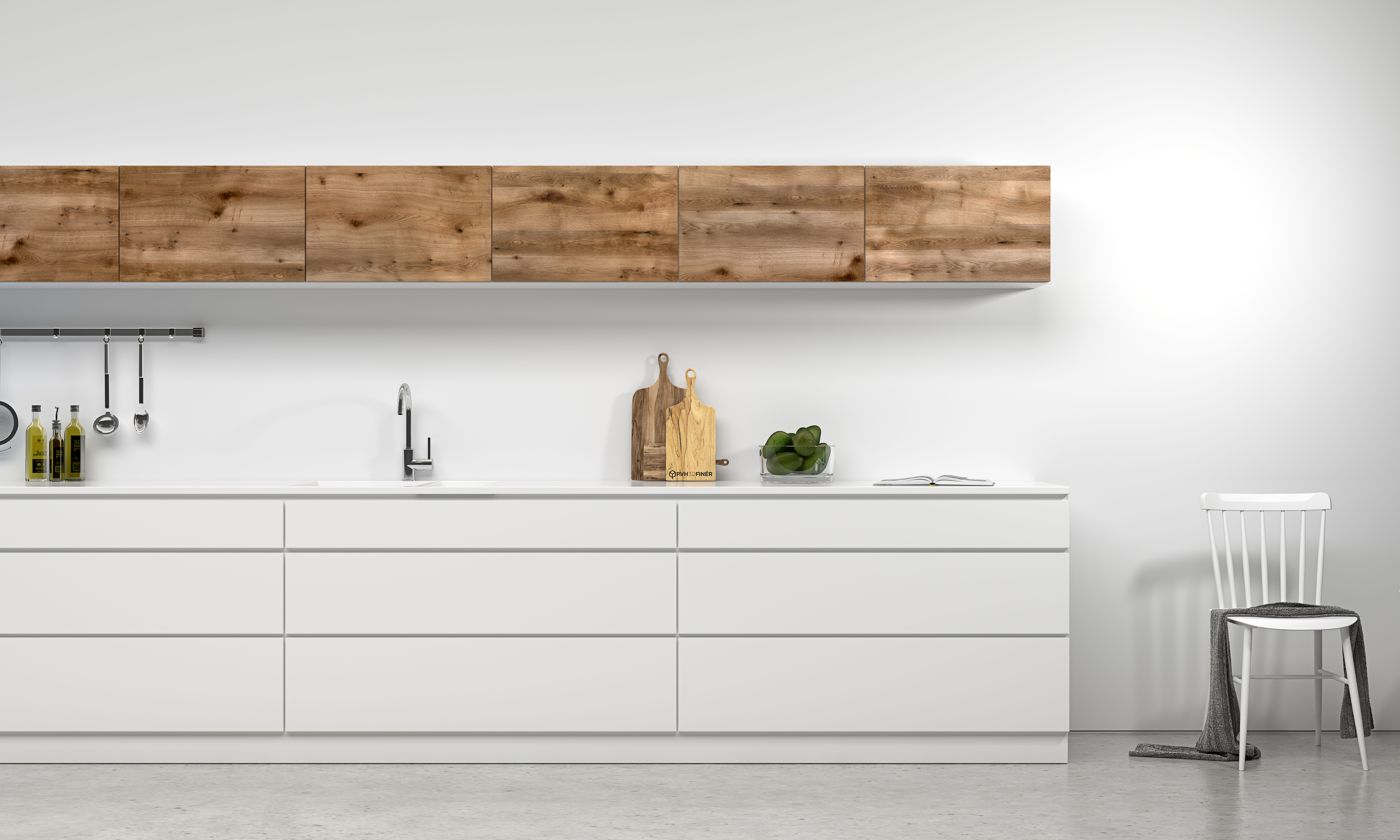 Barnwood - Brown Oak used for kitchen fronts which creates a beautiful contrast to the modern white
